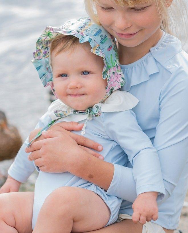 Maillot de bain anti-UV bébé manches longues couleur bleu Ash de Canopea