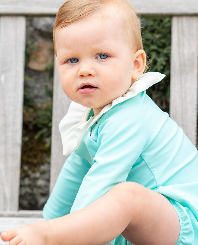 Sun protective swimsuit for baby in Aqua green by Canopea