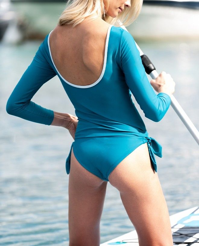 Sun protective UV rash guard for women in Bari green by Canopea