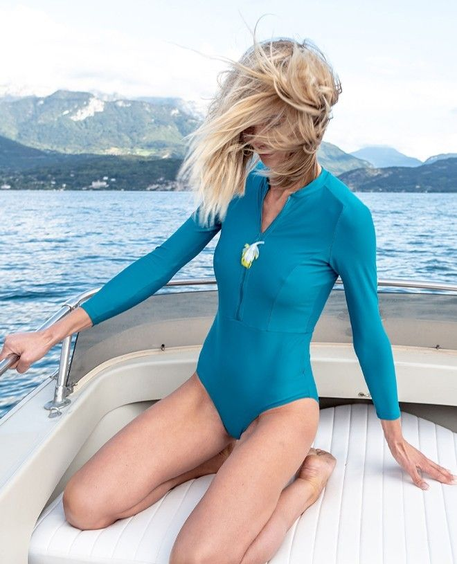 Sun protective swimsuit for women in Bari green by Canopea