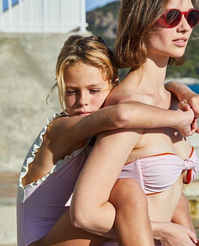 Maillot de bain anti-UV femme LEIA safran et dragée de Canopea