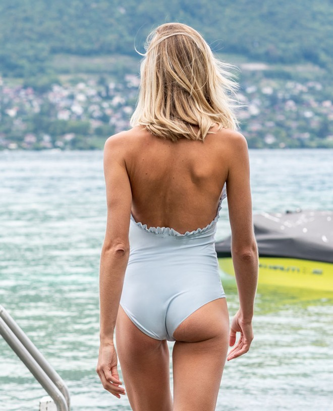 Sun protective swimsuit for women NELLY in Ash blue by Canopea