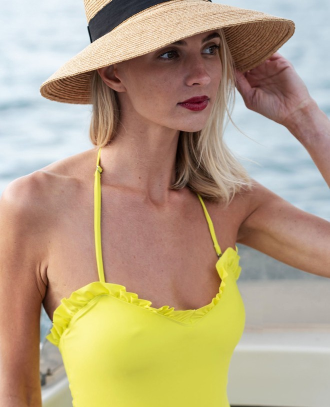 Sun protective swimsuit for women NELLY in Limoncello yellow by Canopea