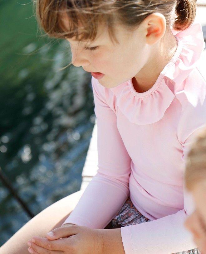 T-shirt anti-UV fille ou bébé rose dragée de Canopea