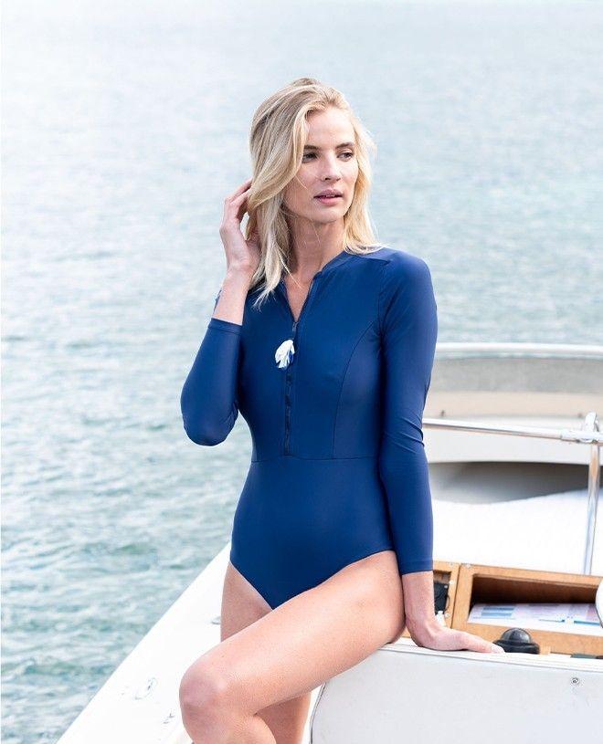 Maillot de bain anti-UV femme AVA bleu myrtille de Canopea