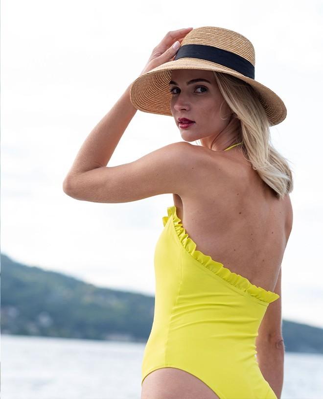 Maillot de bain anti-UV femme NELLY jaune limoncello de Canopea