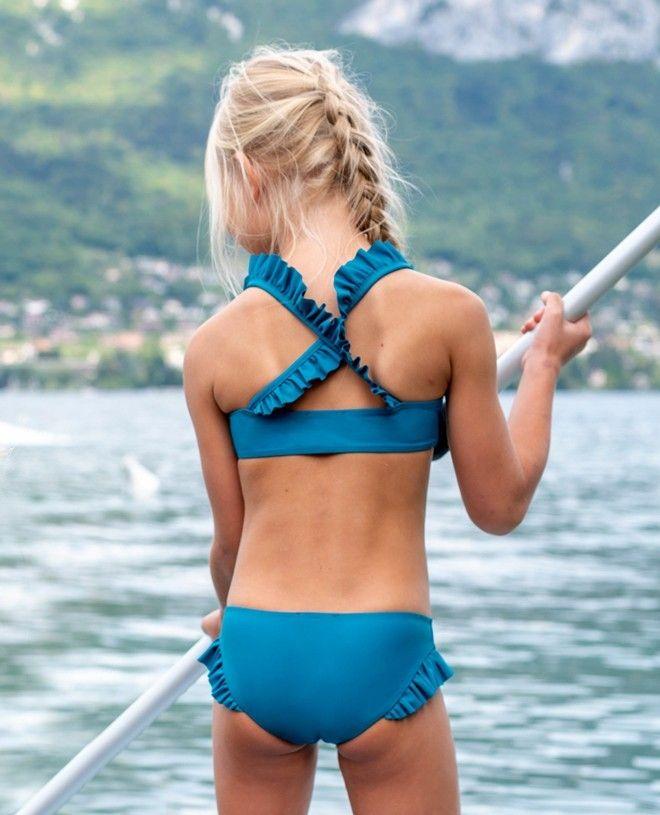 Culotte de maillot de bain anti UV fille vert bari de Canopea