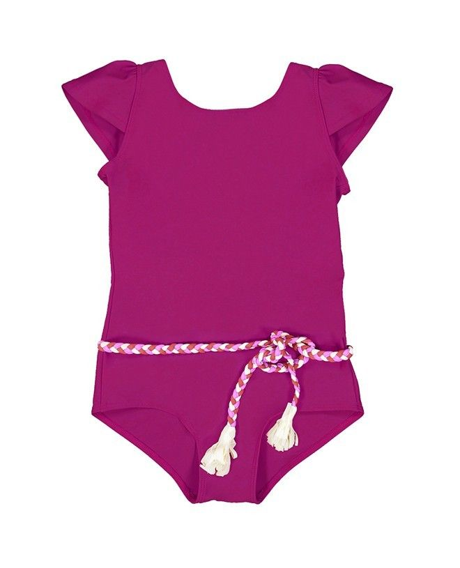 Sun protective swimwear for children and girl in Plum red by Canopea