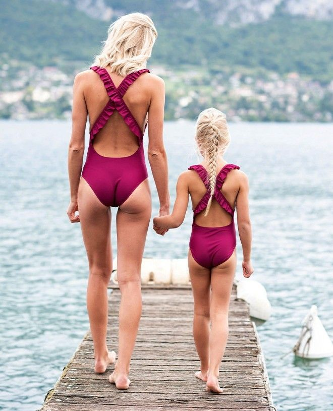 Sun protective swimwear for girls in Plum red by Canopea