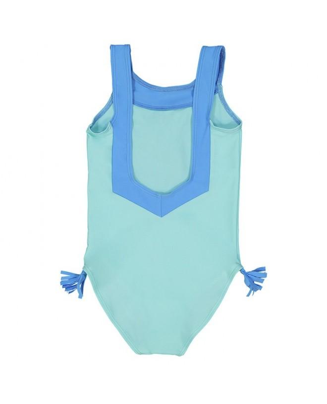 aqua green sun protective swimwear for girls with V shaped back