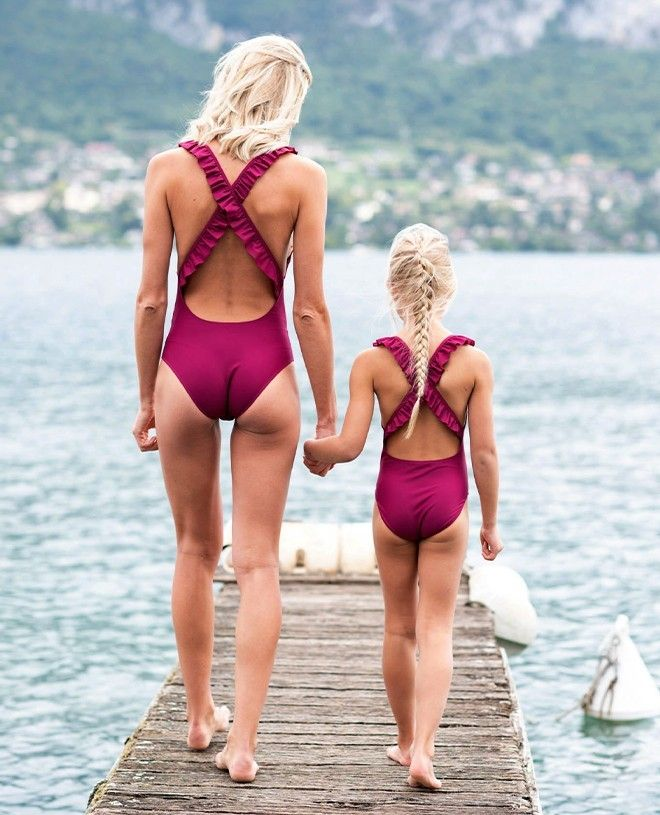 Sun protective swimsuit for women Alana in plum red by Canopea
