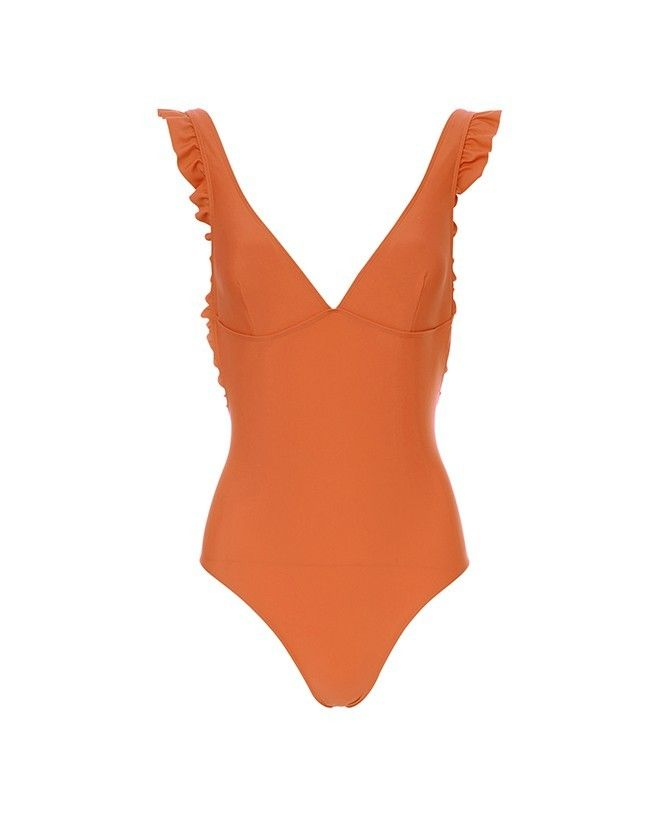 Maillot anti-UV femme Tara en orange safran de Canopea