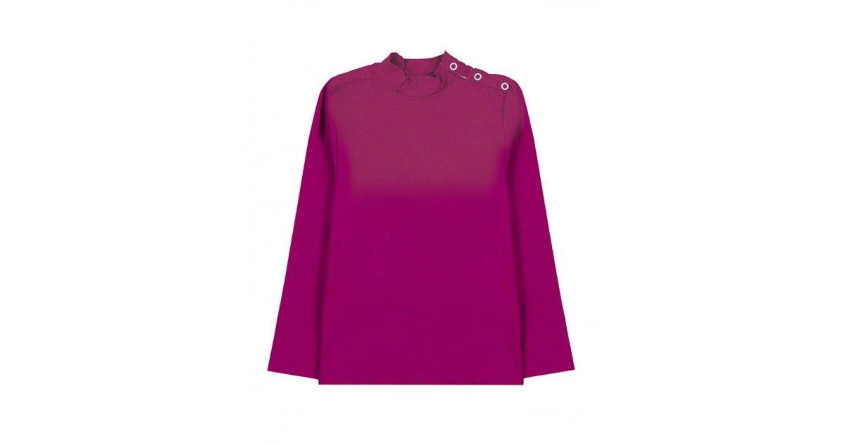 T-shirt anti UV rouge prune de Canopea pour garçon, fille, enfant et bébé