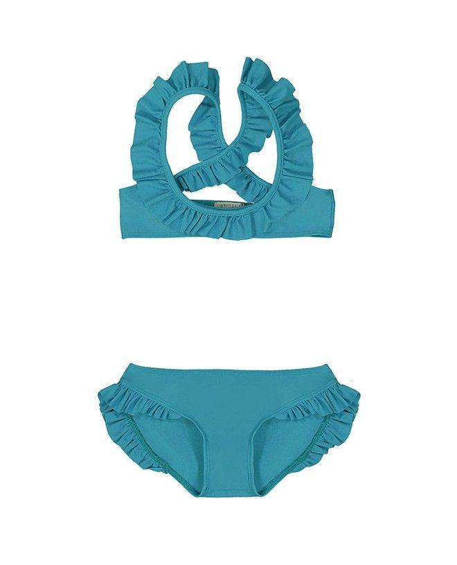 Maillot de bain anti UV ROSE en vert bari pour fille