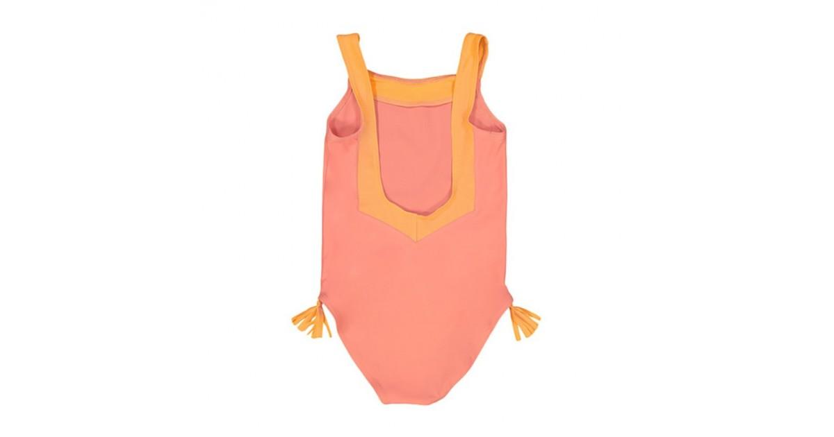 maillot de bain une piece anti-uv rose corail avec dos en V pour filles