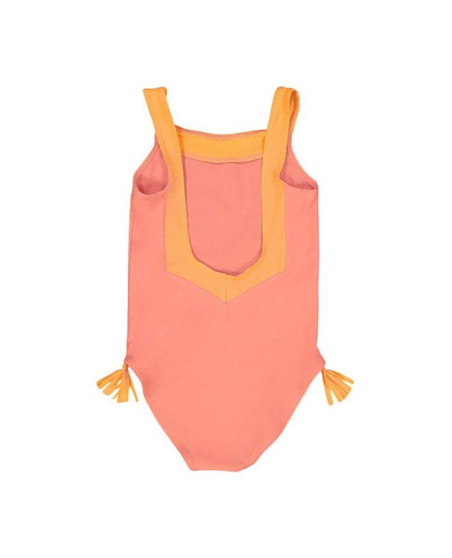 Coral pink sun protective swimwear for girls with V shaped back