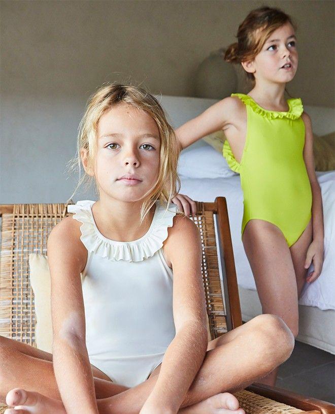 maillot de bain une-piece anti-uv vanille avec dos croisé pour filles