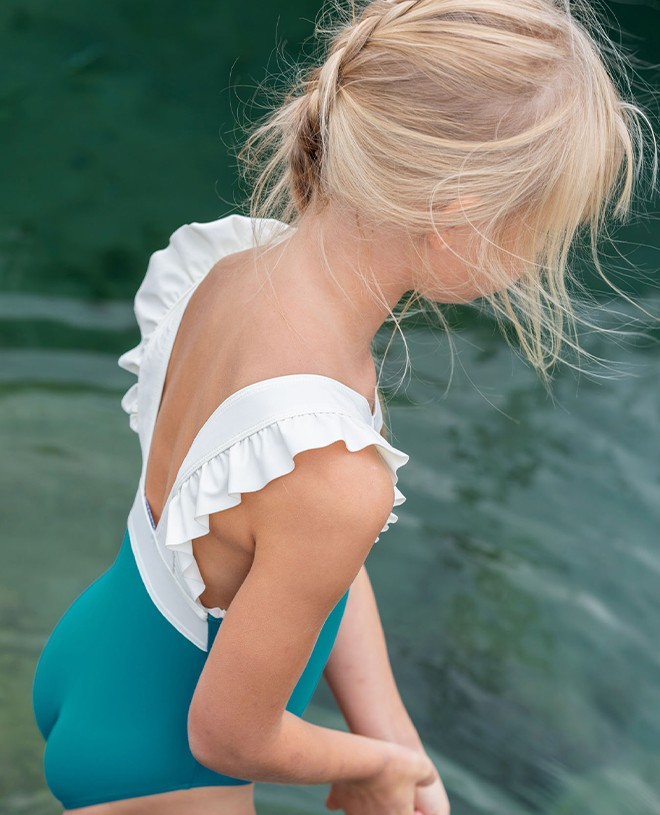 Maillot de bain une pièce anti-uv bleu Ash pour fille de Canopea