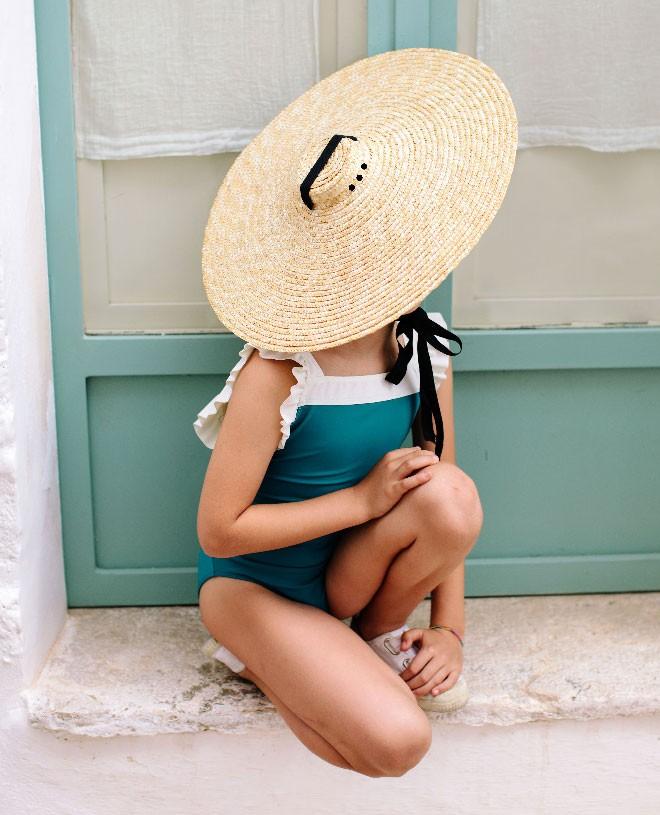 Bari green girl and baby sun protective swimwear by Canopea