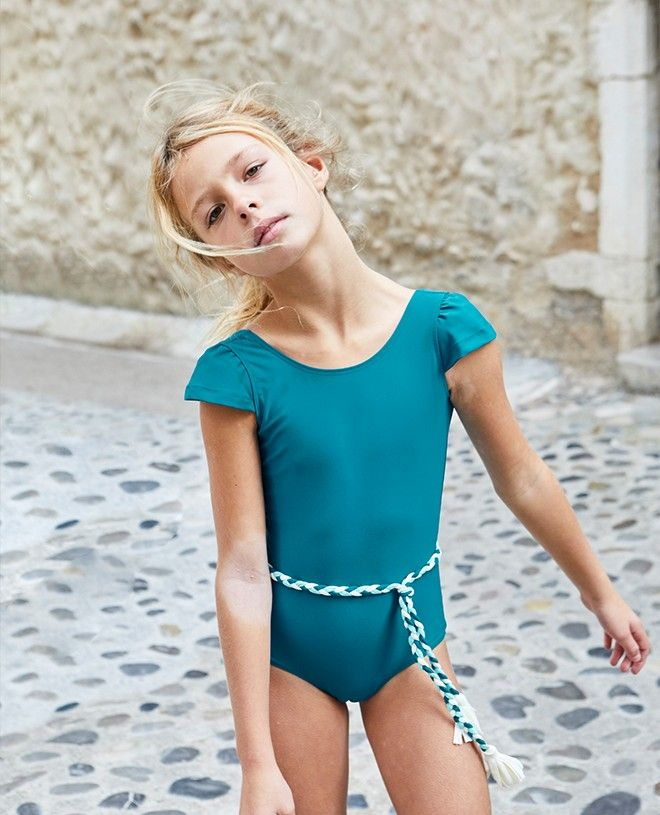 Sun protective swimwear for girl and baby Joan in Bari green by Canopea