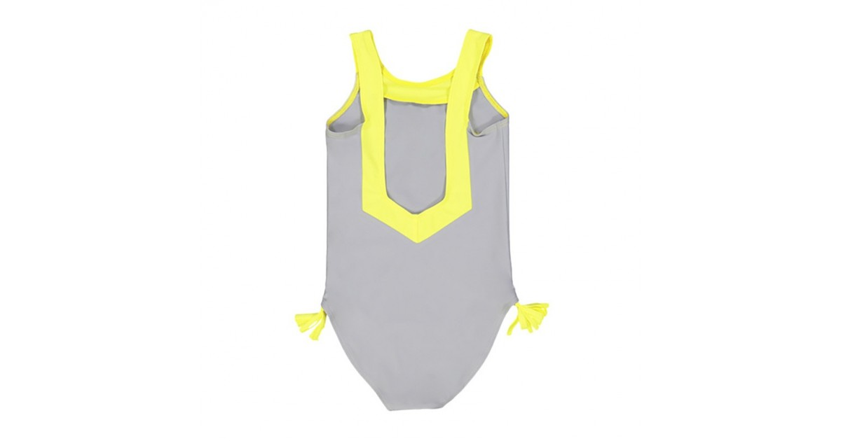 Grey and yellow sun protective swimwear for girls with V shaped back