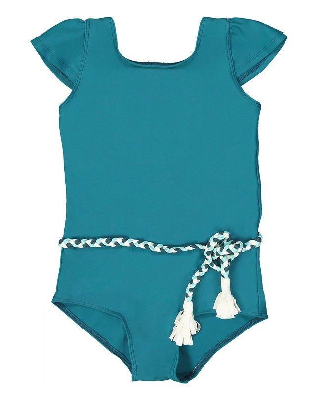 Maillot anti-uv pour fille et bébé  Joan en vert bari de Canopea