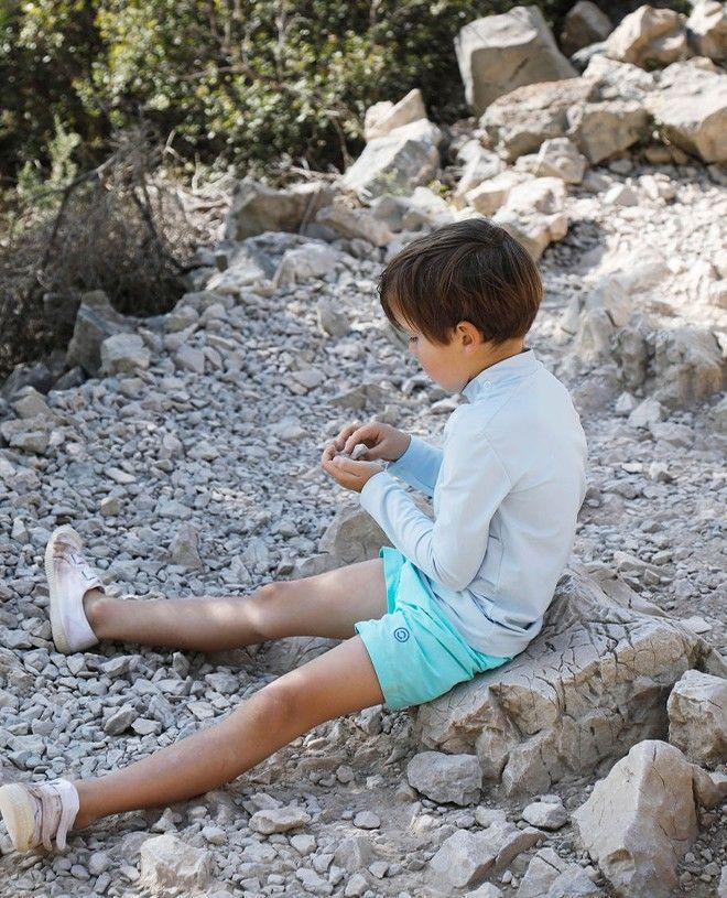 T-shirt anti UV bleu Ash pour fille, garçon, enfant de Canopea