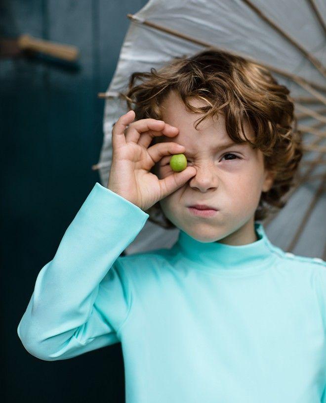T-shirt anti UV Canopea vert aqua pour enfants, garçons et filles