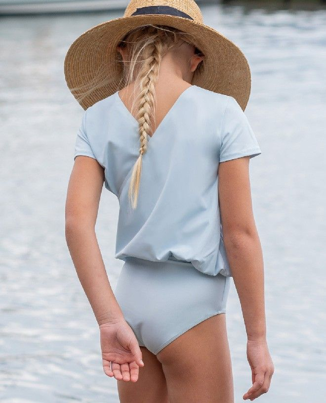 Ash blue girl sun protective swimwear by Canopea