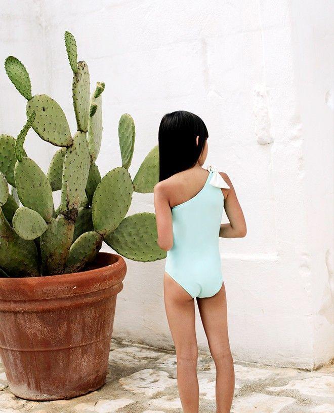 Aqua green girl sun protective swimwear by Canopea
