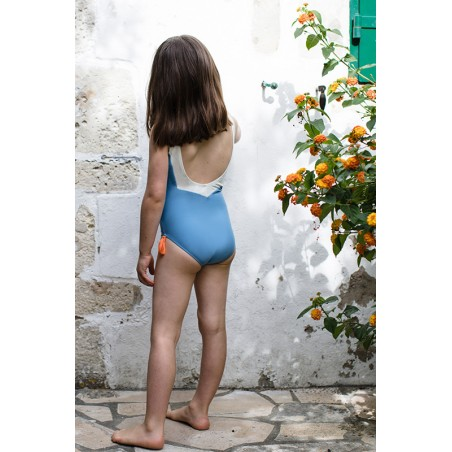 Slate blue sun protective swimwear for girls with V shaped back