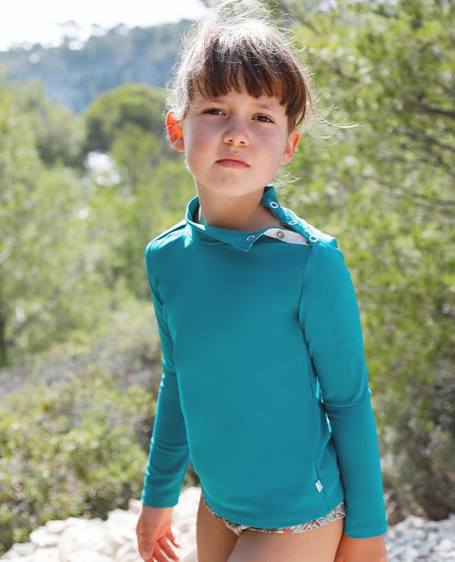 Bari green sun protective rashguard for boy, girl, baby and children