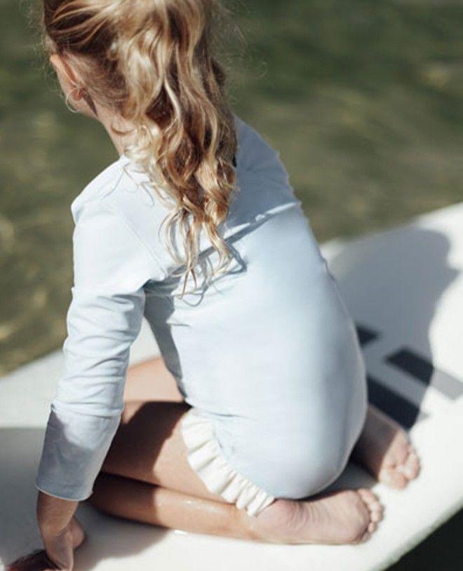 Maillot de bain anti-UV fille manche longues couleur bleu Ash