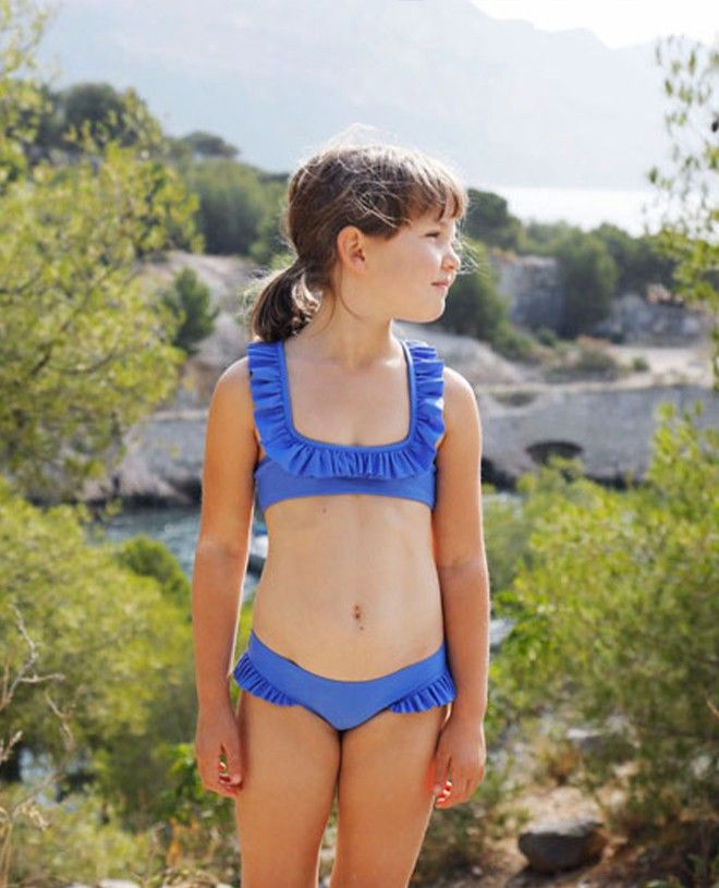 Haut de maillot de bain anti UV couleur bleu Indigo pour fille