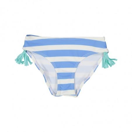 culotte rayée bleu avec pompons colorés de chaque coté