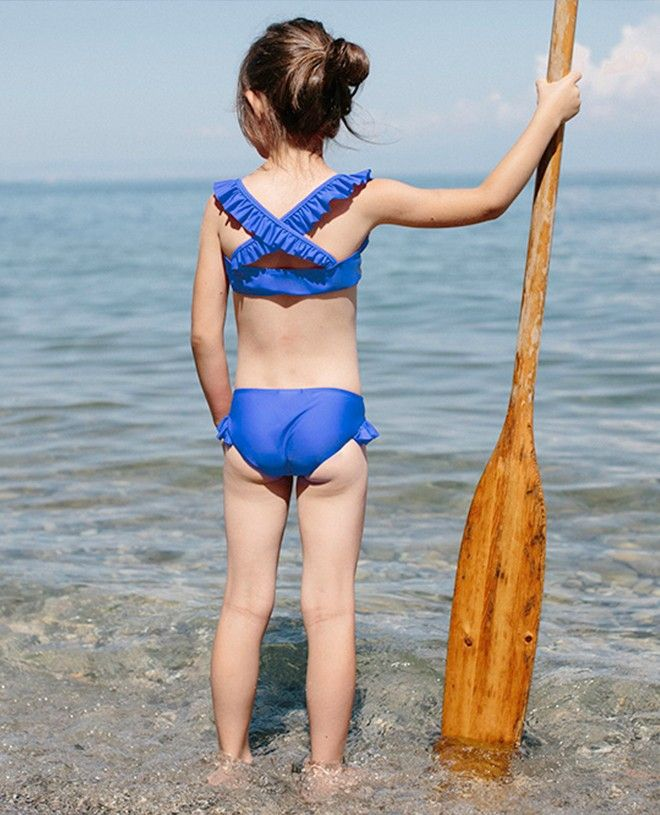 Indigo blue sun protective bikini bottom with ruffles for girl