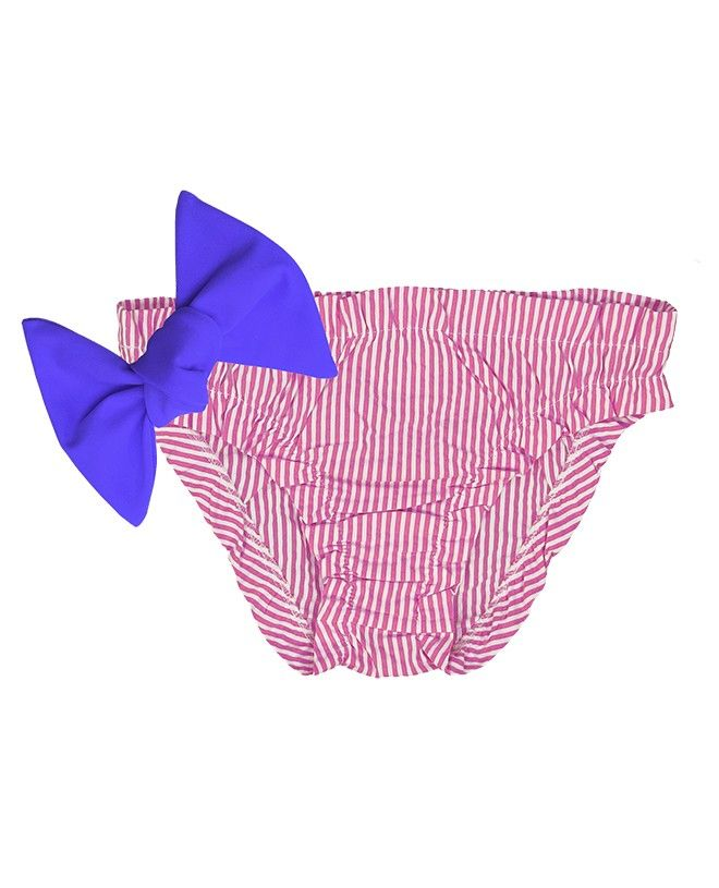Plum red seersucker bikini for baby girls with frowns and a large removable bow