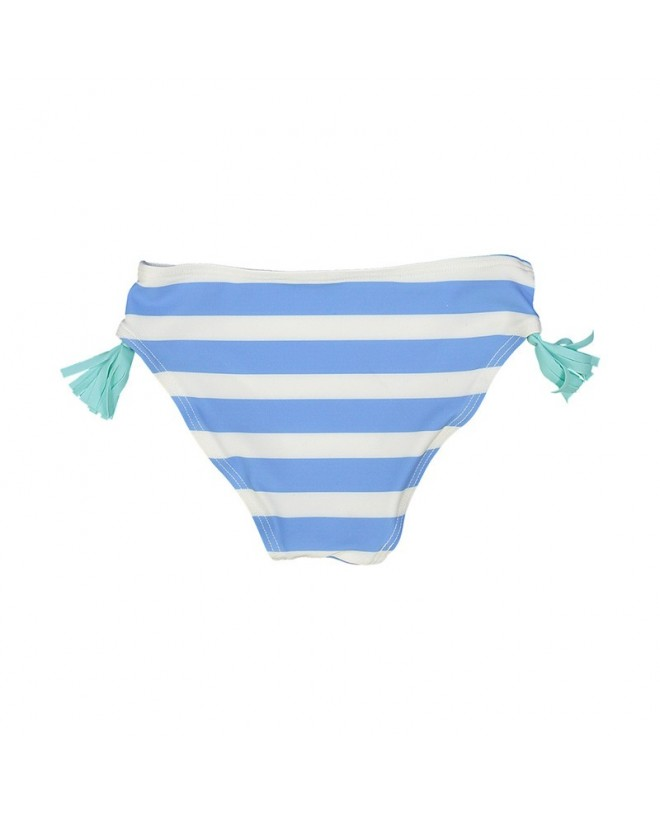 Blue stripes bikini bottom with color tassels on each sides