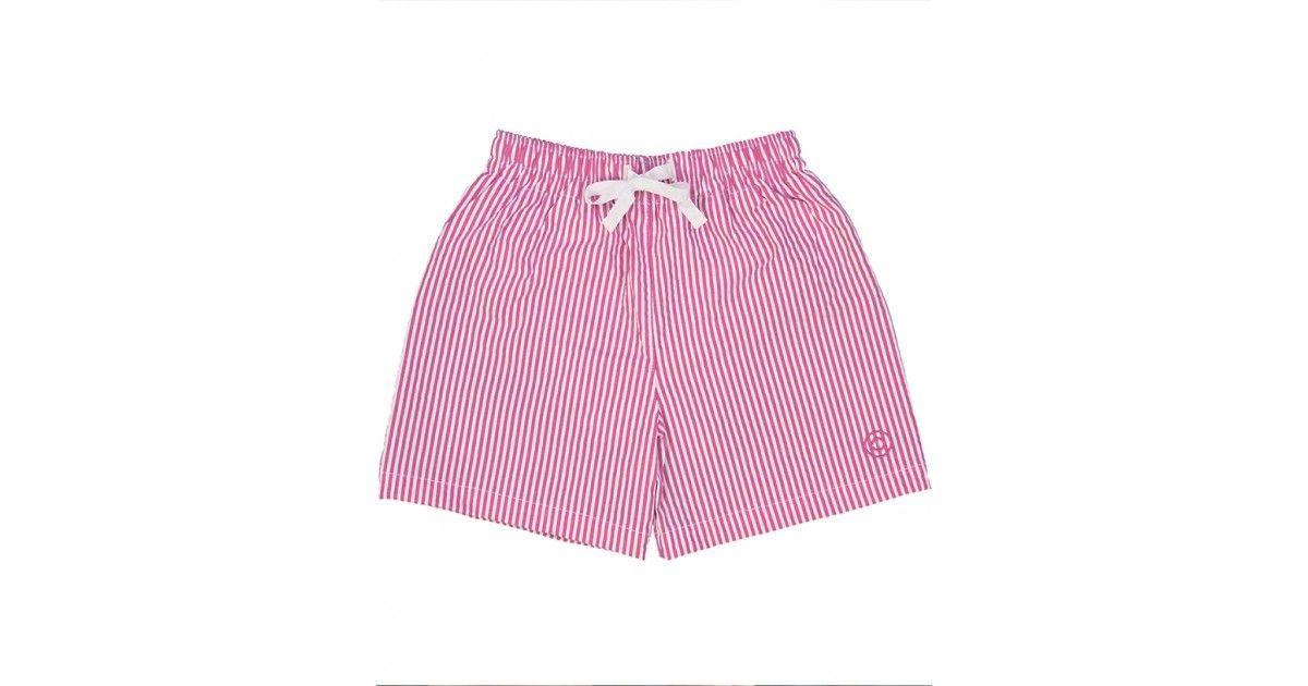 Seersucker swim shorts for men in plum red by Canopea