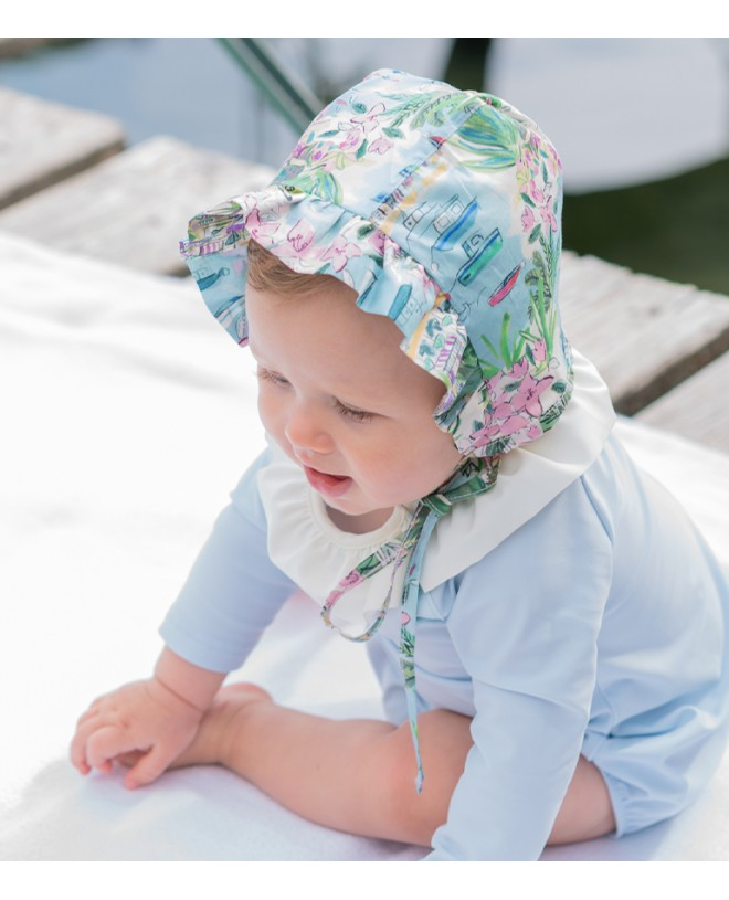 Sun protective hat for baby girl in Liberty vista by Canopea
