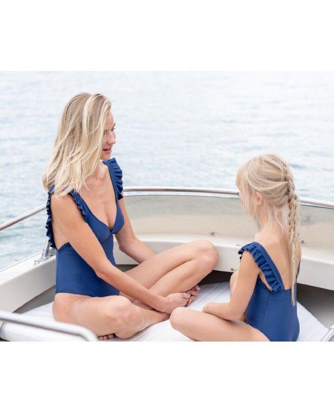 Maillot de bain une pièce anti-uv Thelma bleu myrtille pour enfant et fille de Canopea
