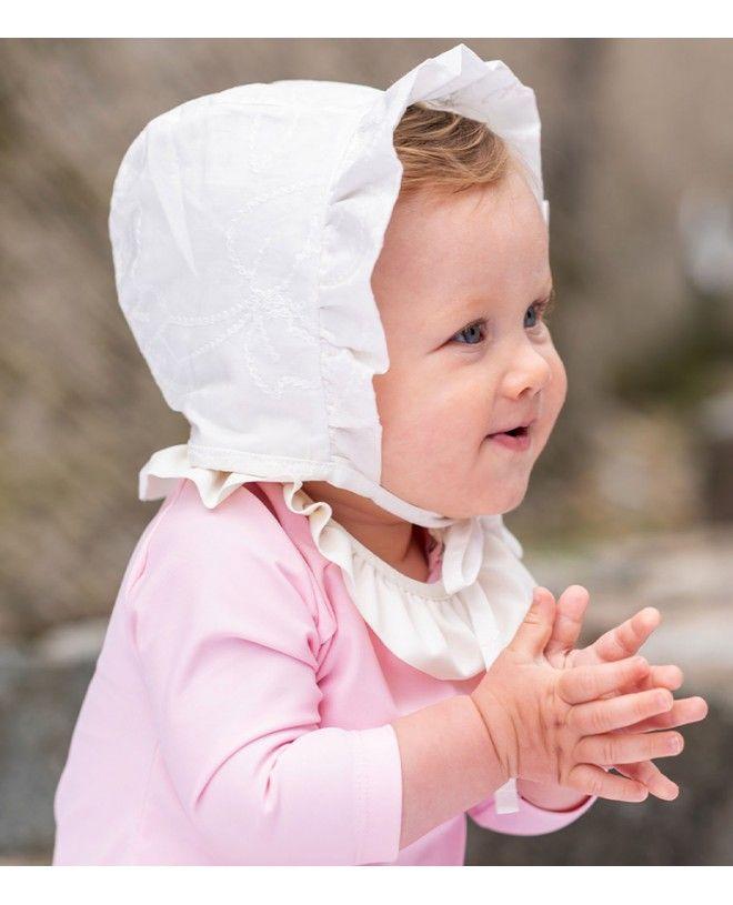 Chapeau anti UV pour bébé fille en tissu Liberty Bloom de Canopea