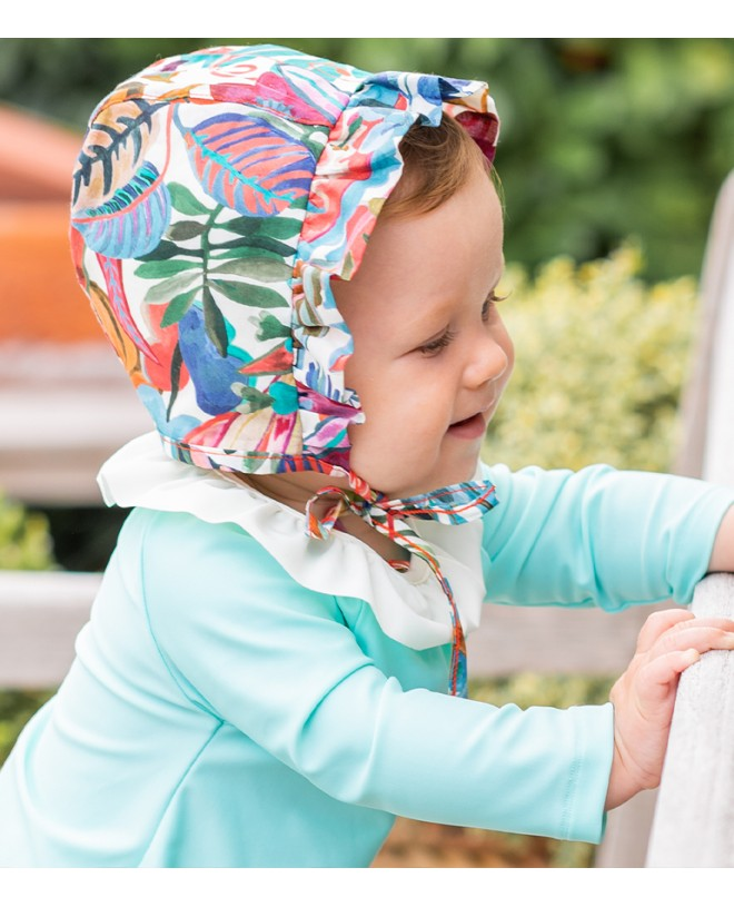 Sun protective hat for baby girl in Liberty jungle by Canopea