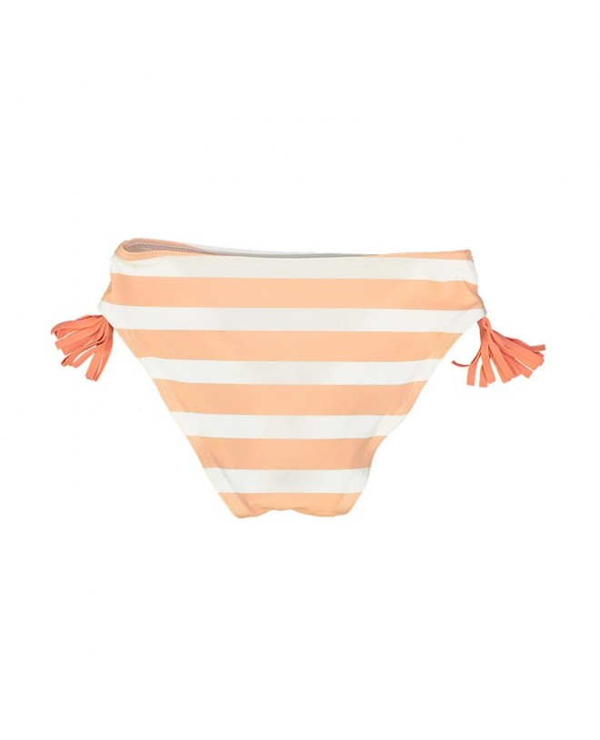 coral pink stripe bikini bottom with color tassels on each sides