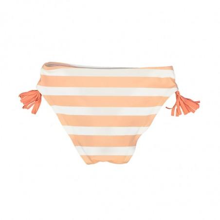 culotte rayée rose corail avec pompons colorés de chaque coté