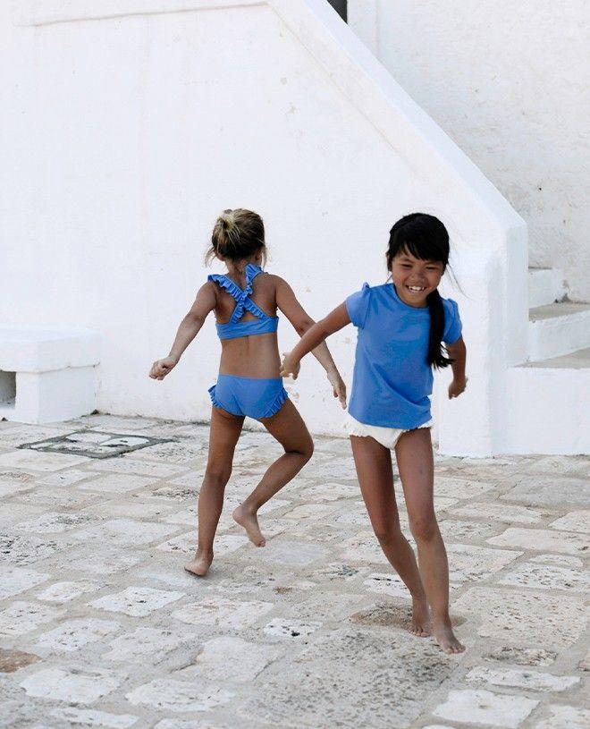Culotte de maillot de bain anti UV couleur blue Indigo pour fille