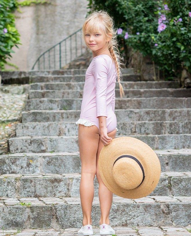 Maillot de bain anti-UV fille manche longues couleur rose Dragée