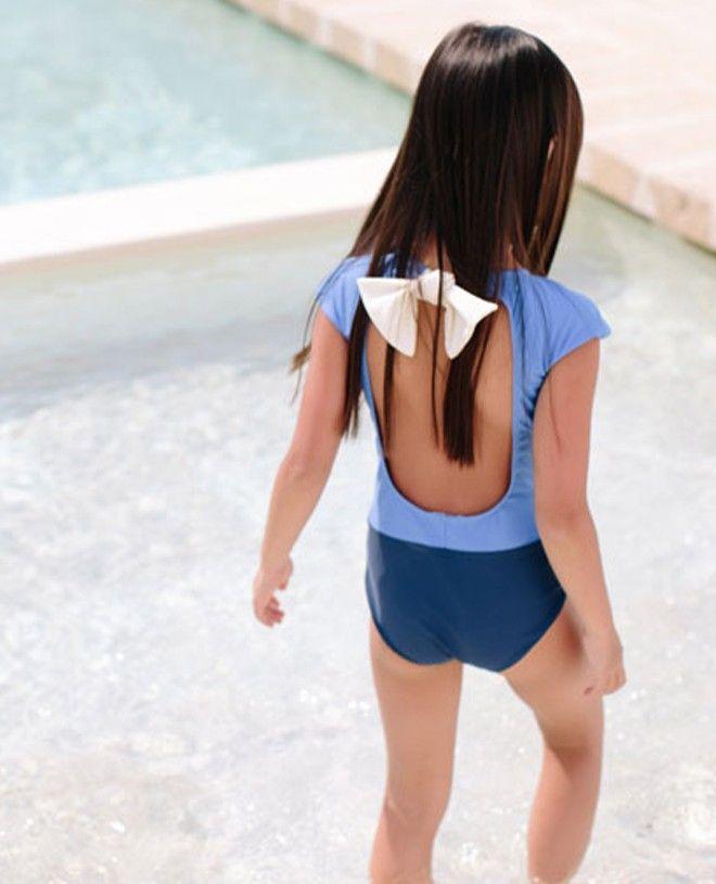 Maillot de bain une pièce anti-uv bi-couleur pour fille de Canopea