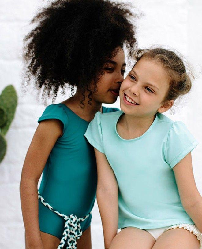 Top anti-uv kelly en vert aqua pour fille et bébé de Canopea