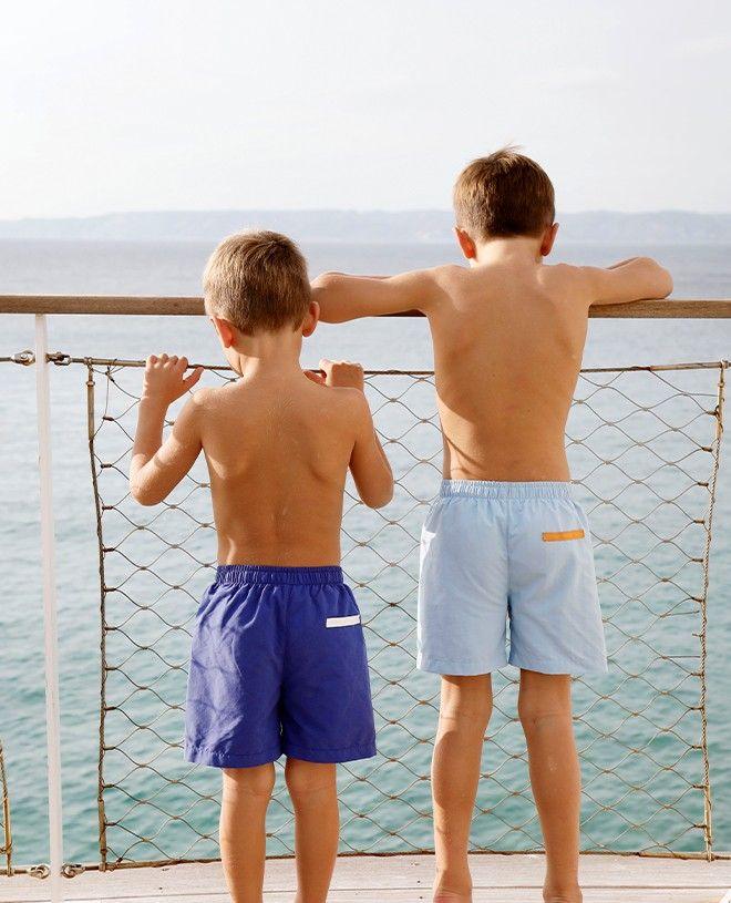 Short maillot de bain garçon CANOPEA en bleu indigo